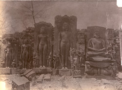 Group of five sculpture slabs of Jain tirthankaras from temples at Deogarh